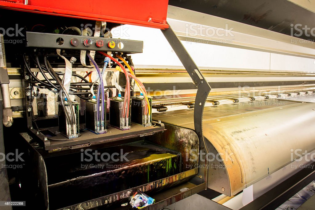 Industrial large format   printing on big sheets of plastic stock photo