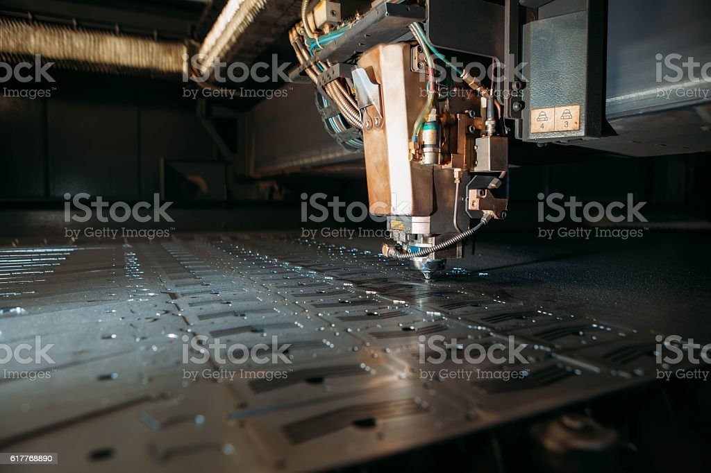 Industrial Laser cutting processing manufacture technology of flat sheet metal stock photo