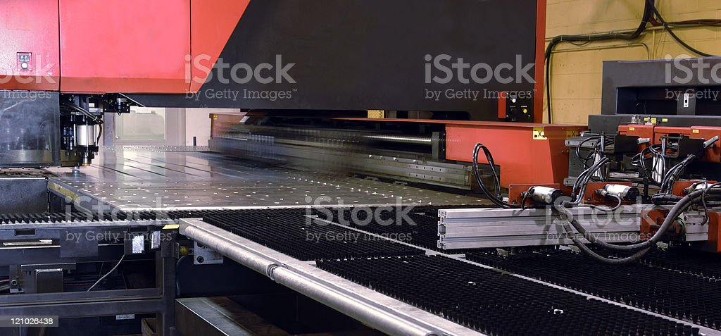 Industrial laser metal-cutting tool stock photo