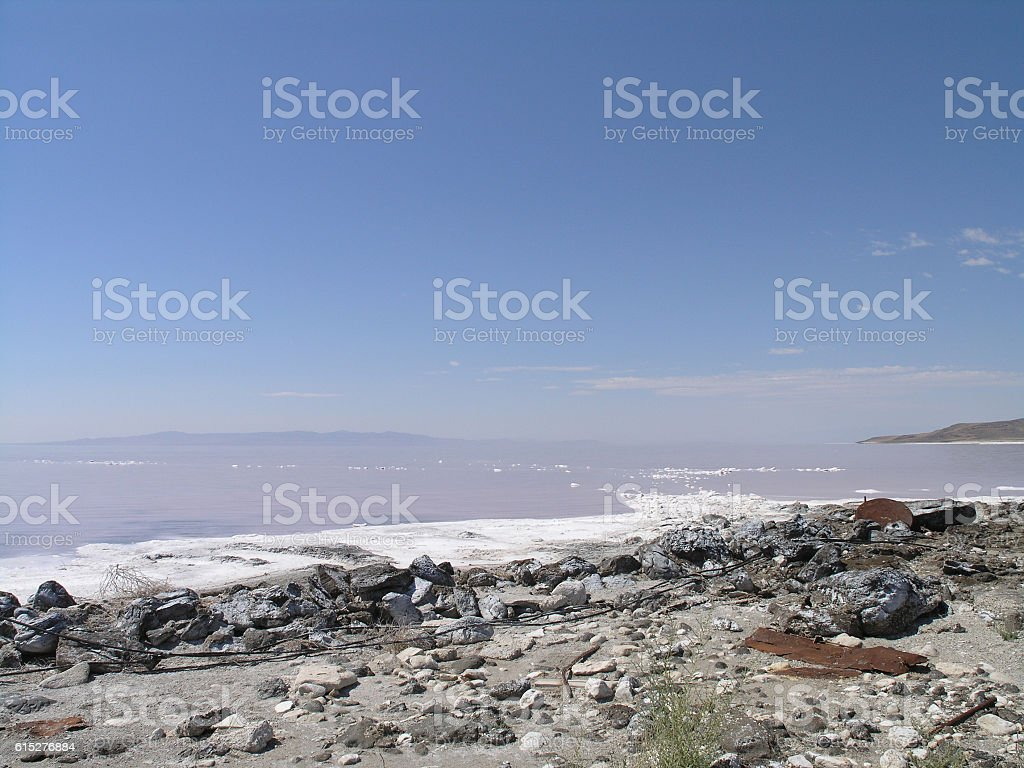 Industrial leftovers at the shore of Great Salt Lake stock photo