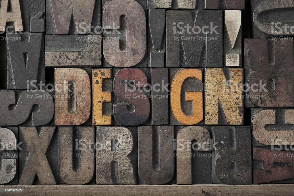 Industrial letters with word design spelled center  royalty-free stock photo