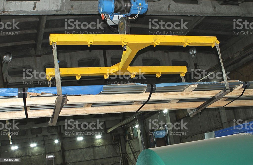 Industrial lift for transportation of raw materials stock photo