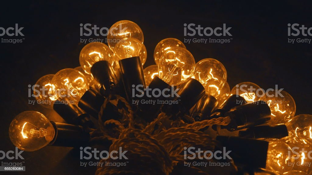 Industrial light bulbs. Electricity light on the table stock photo