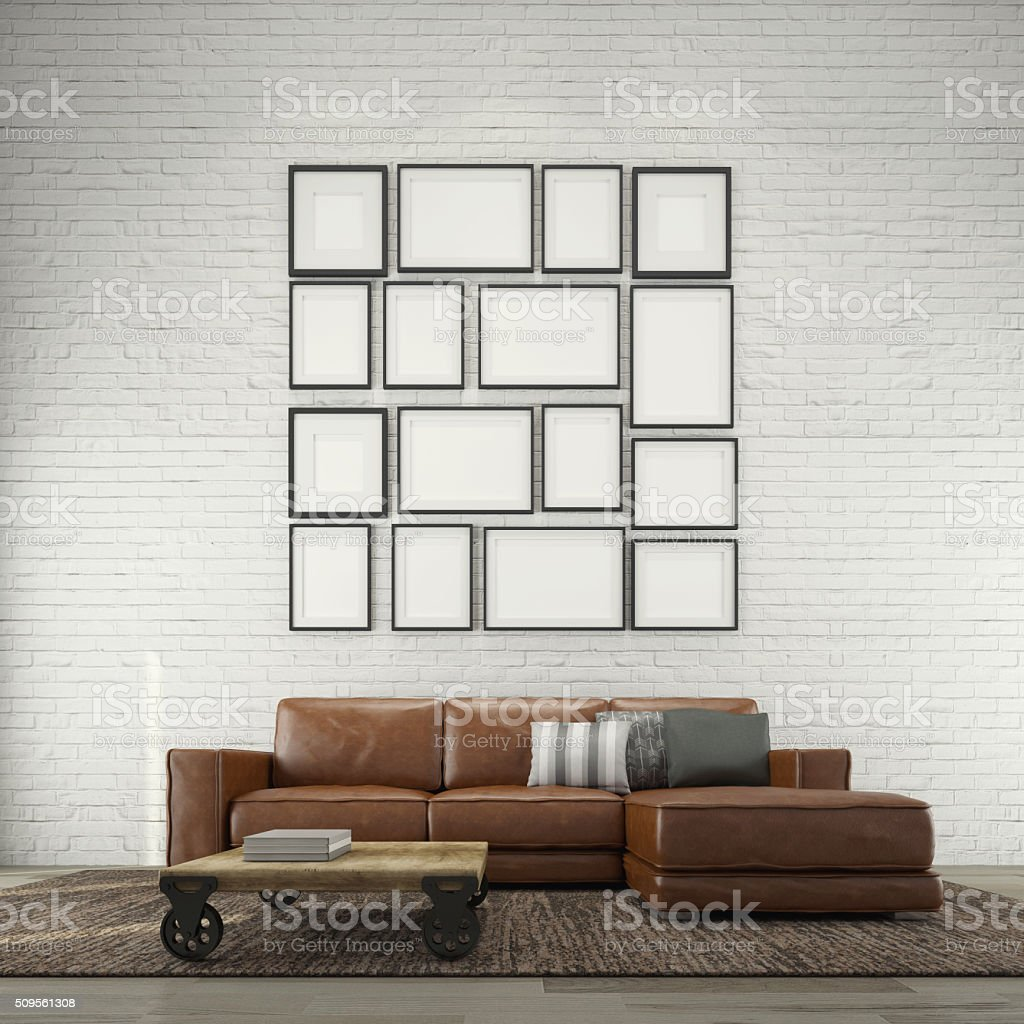 Industrial living room stock photo