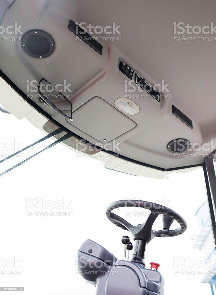 Industrial machine driver's cabin stock photo