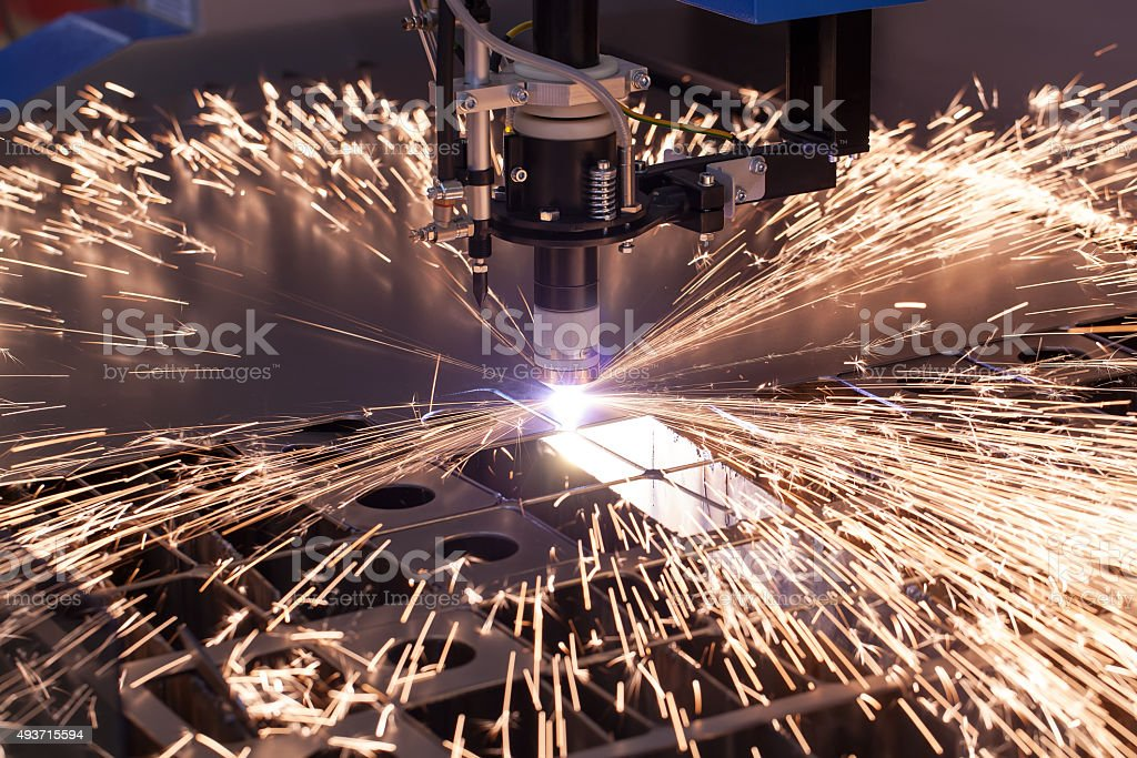 Industrial machine for plasma cutting stock photo