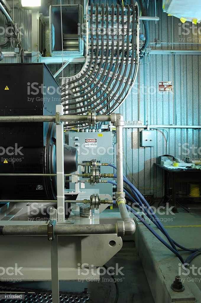 Industrial machinery room stock photo