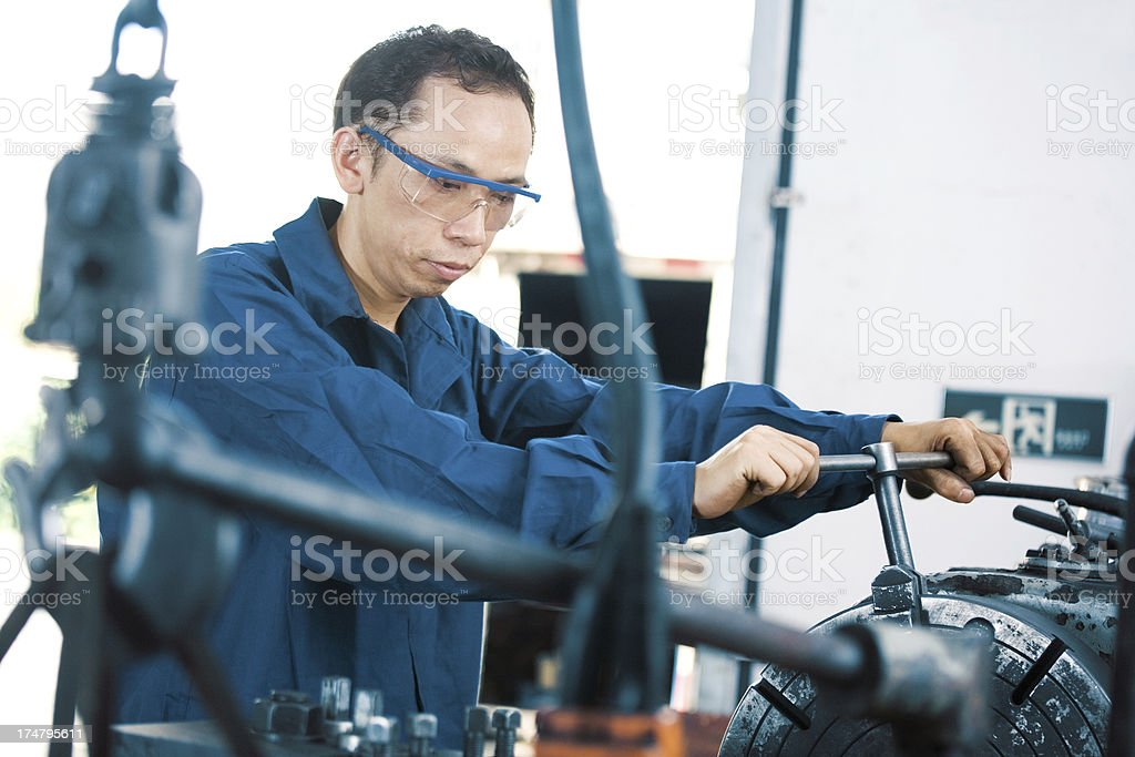 industrial machinist working on vice grip royalty-free stock photo