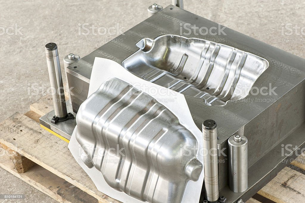 Industrial metal matrix mold with ready iron die/blank. stock photo