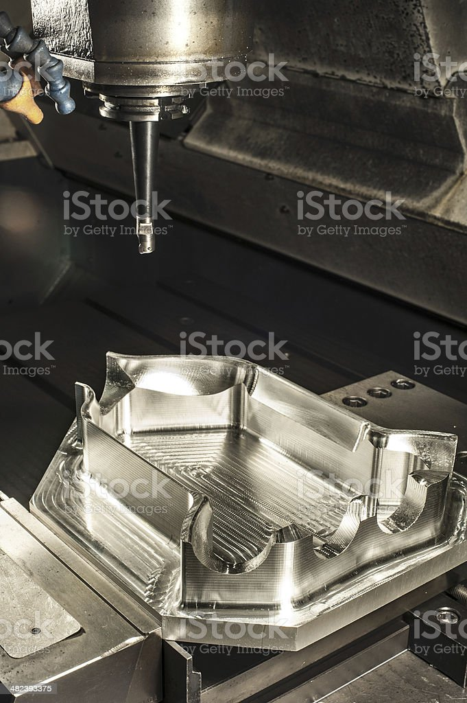 Industrial metal mold milling. Metalworking. stock photo