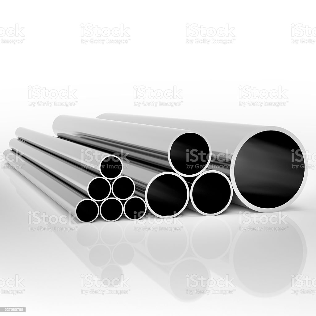 Industrial metal pipes stock photo