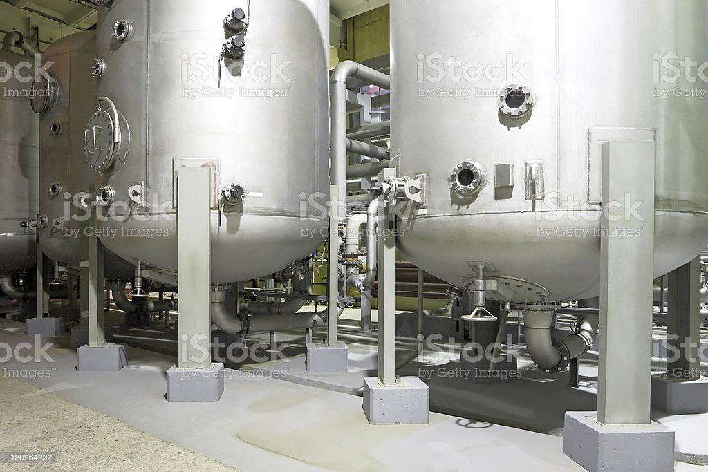 Industrial metal tanks in a chemical factory stock photo