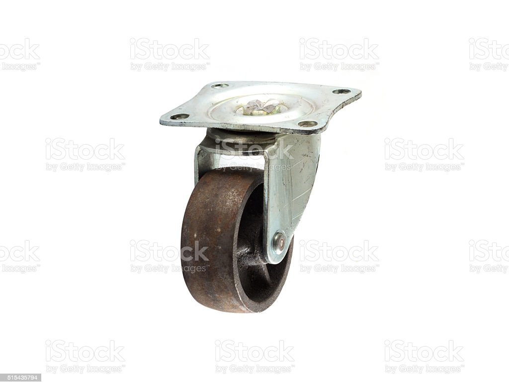 Industrial metal wheels or Caster steel wheels on white backgrou stock photo