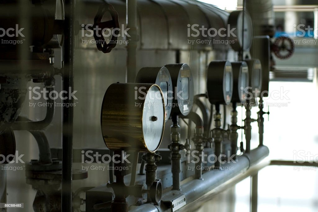 Industrial meters and tubes royalty-free stock photo