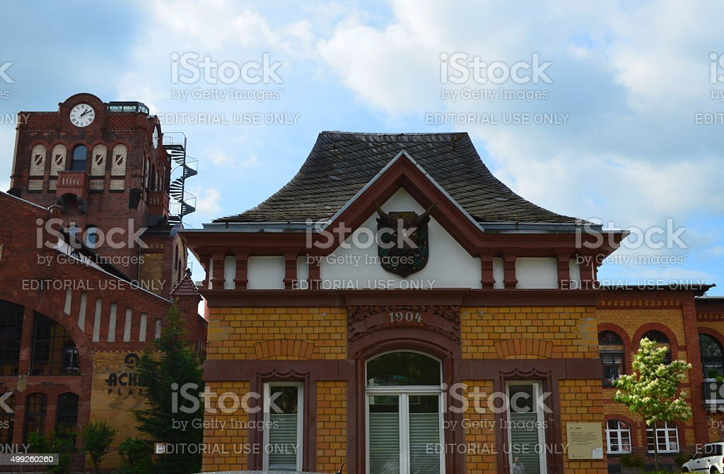 Industrial Monument: Bullhead and Clocktower at Offenbach's Old Slaughterhouse stock photo