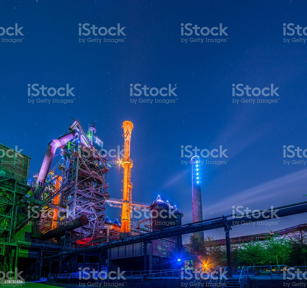 Industrial night portrait stock photo