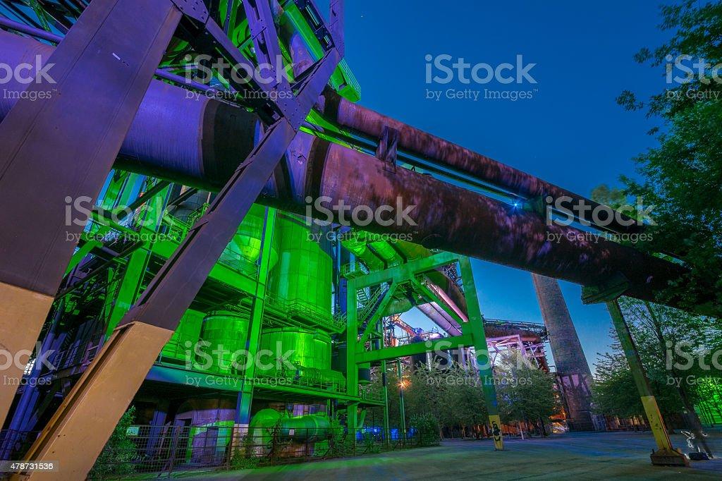 Industrial night portrait stock photo