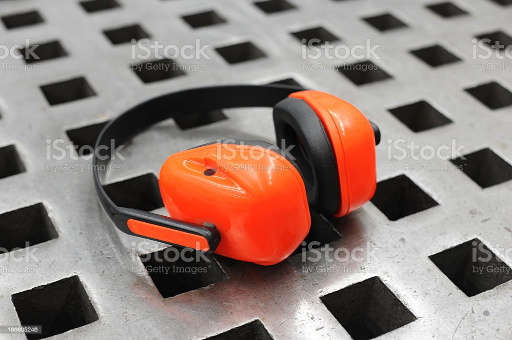 Industrial noise cancellation headphones for ear protection royalty-free stock photo