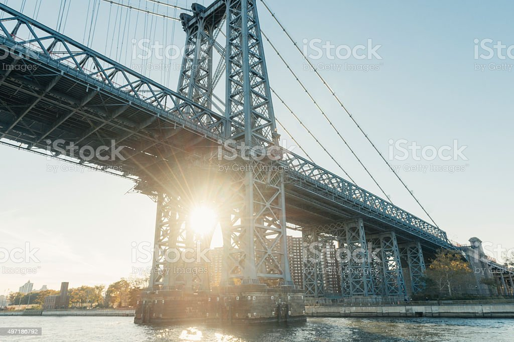 Industrial NYC Architecture Williamsburg Bridge View From East River stock photo