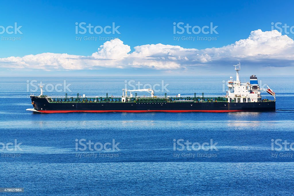 Industrial oil and chemical tanker ship stock photo