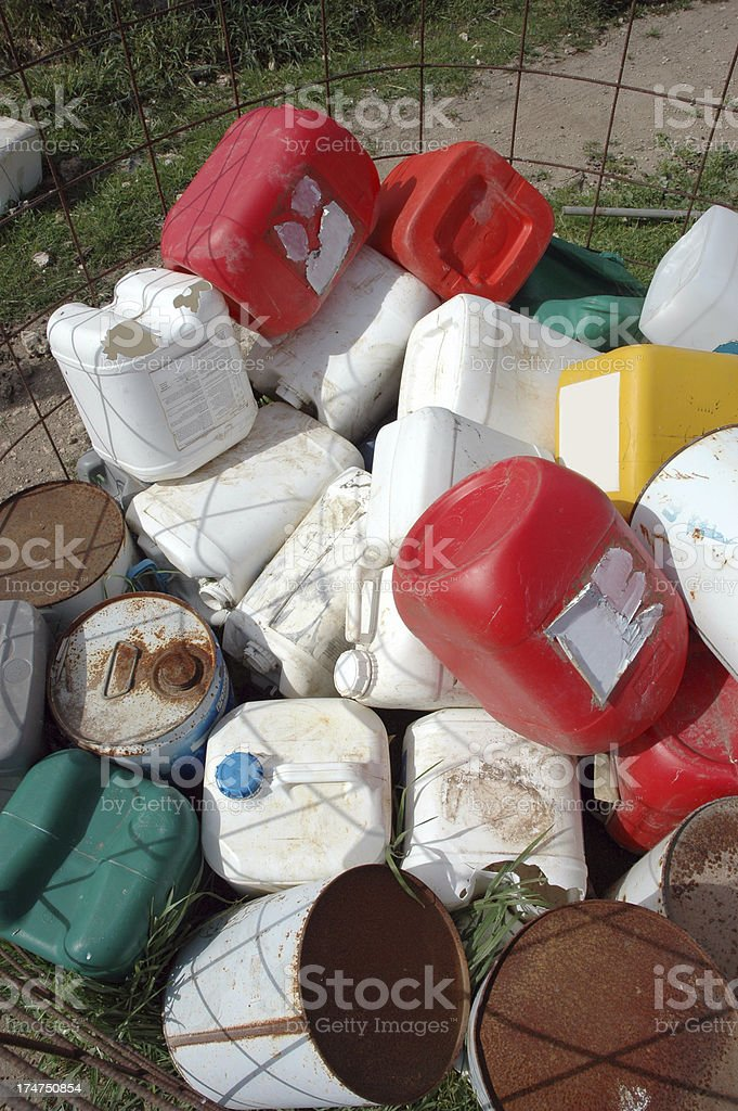 Industrial or farming chemical containers stock photo