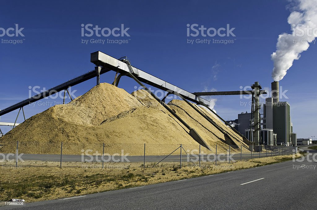 Industrial paper mill factory stock photo