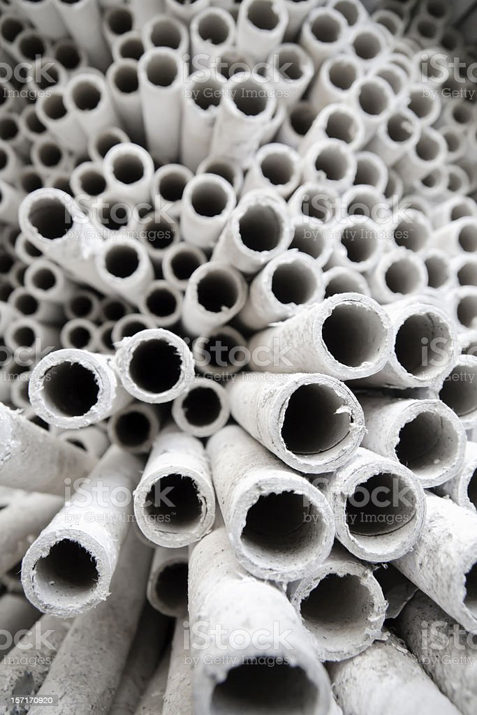 Industrial paper tubes. stock photo