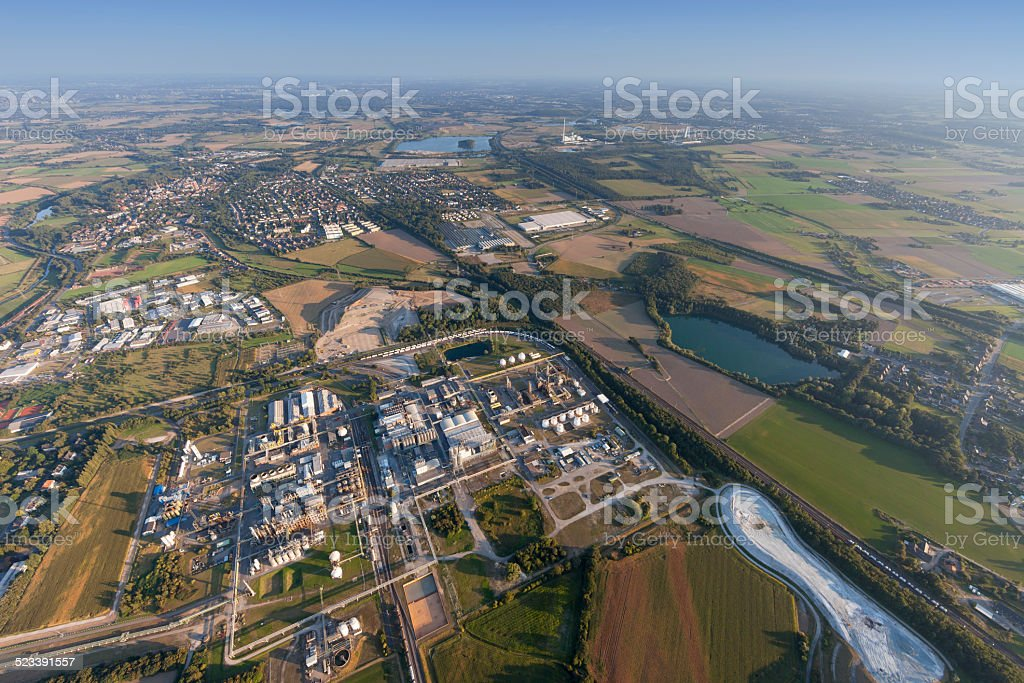 Industrial Park Solvay Rheinberg in the Lower Rhine Region stock photo
