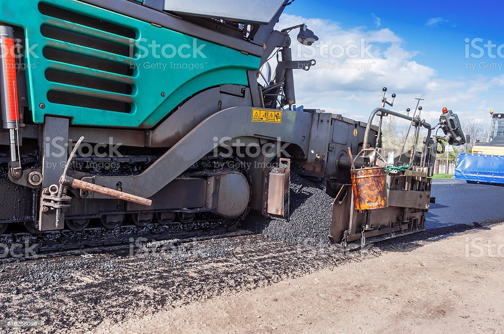 industrial pavement truck stock photo