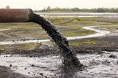 Industrial pipe discharging liquid waste