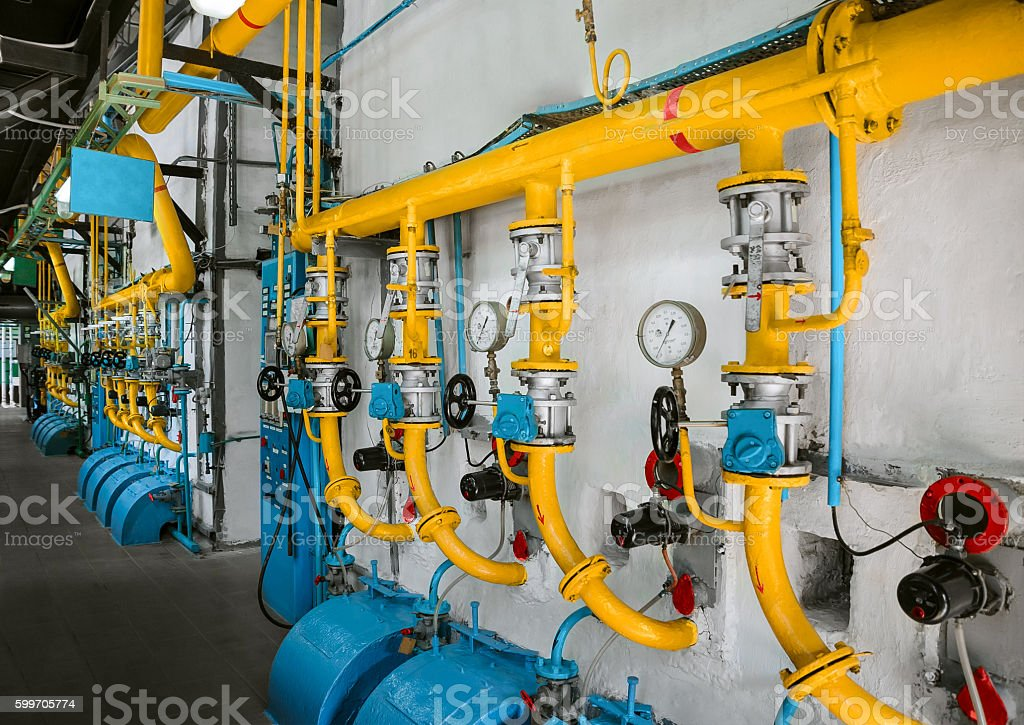 Industrial pipe lines stock photo