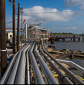 Industrial pipeline piping to dock