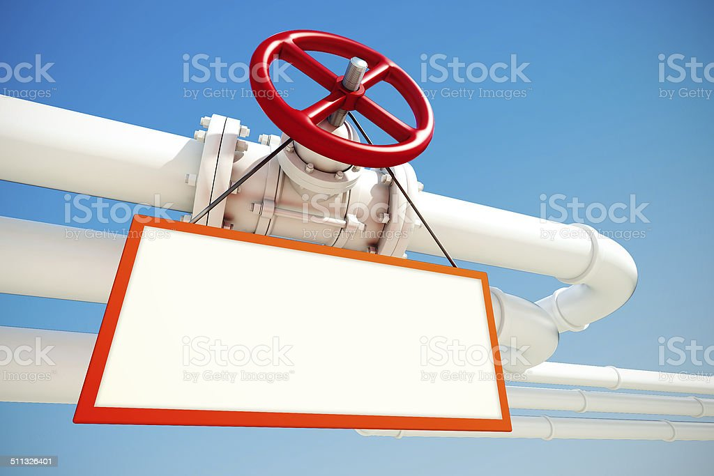 industrial pipeline with gas or oil with empty sign stock photo