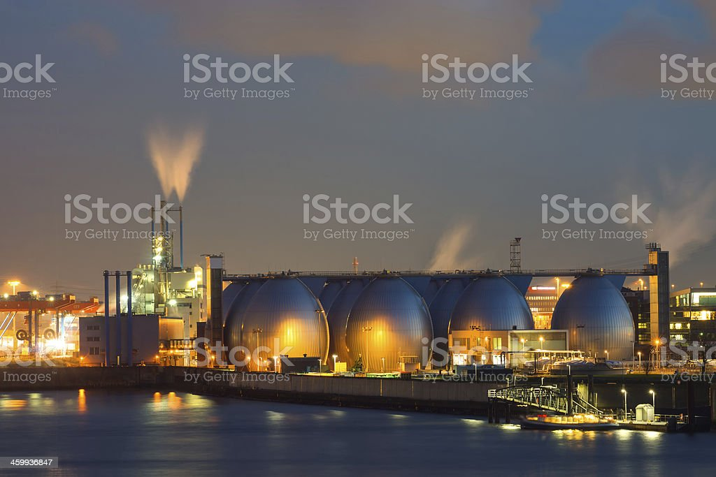 Industrial plant at night stock photo