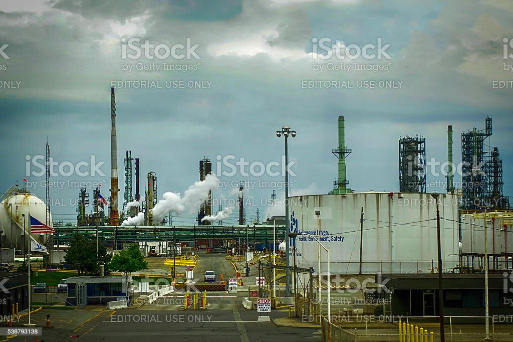 Industrial plant in just outside Chicago, IL stock photo