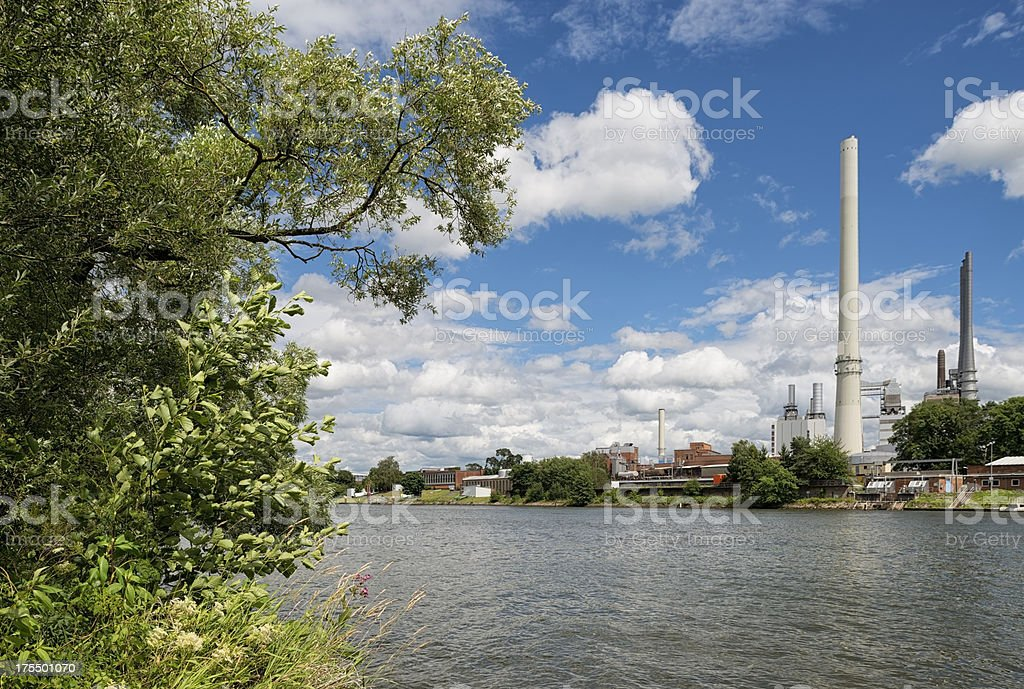 Industrial plant near the Main River stock photo