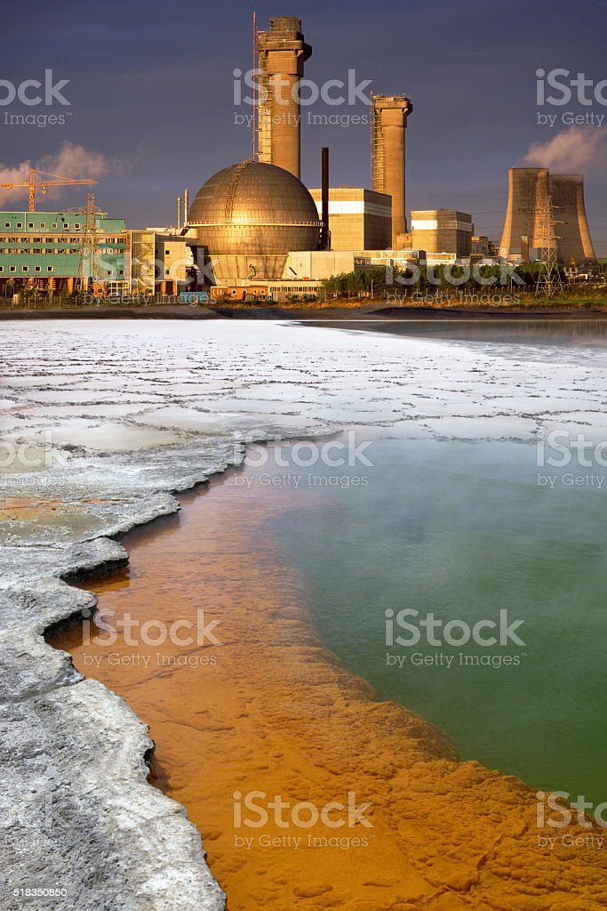 Industrial Pollution and toxic waste stock photo