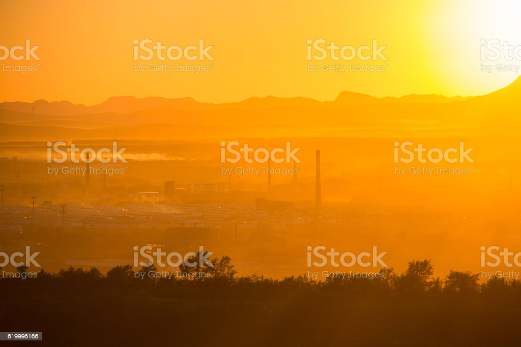 Industrial pollution sunset stock photo