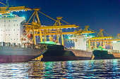 Industrial port and Container ship logistic the harbor in Asia ,