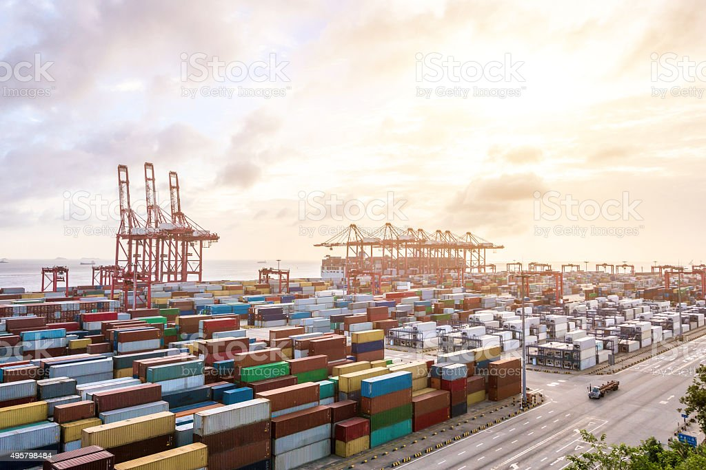 Industrial port at dawn at the Port of shanghai stock photo
