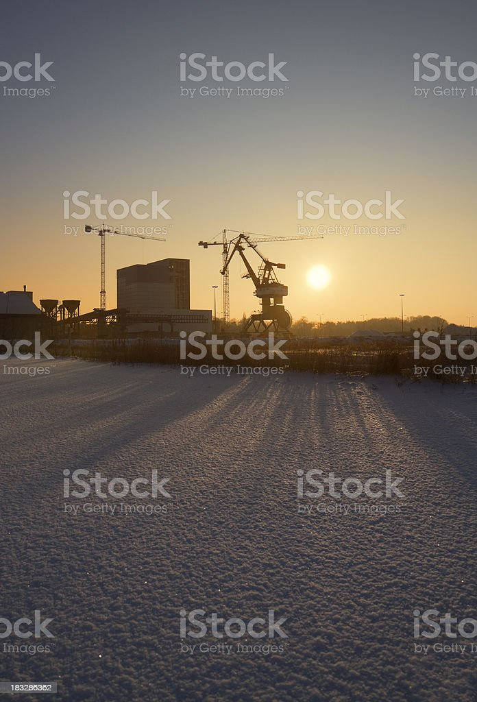Industrial port at sunset in winter stock photo