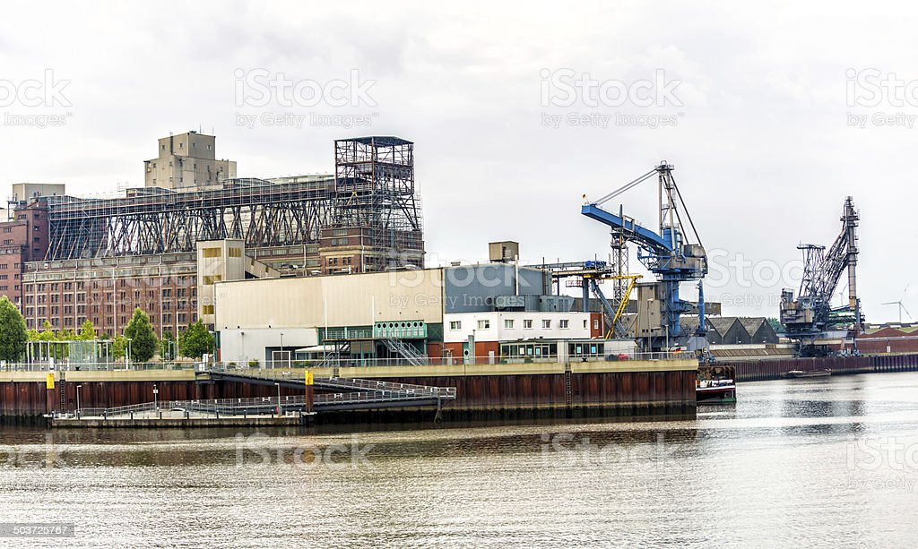 Industrial port in Bremen stock photo
