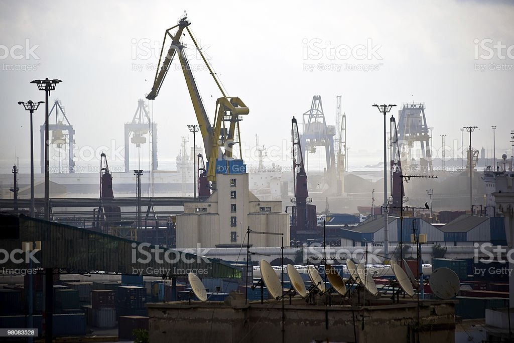 Industrial port in the fog stock photo