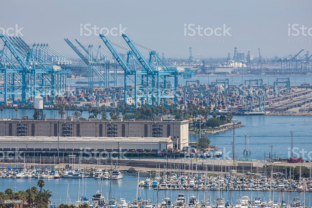 Industrial Port of Long Beach California stock photo