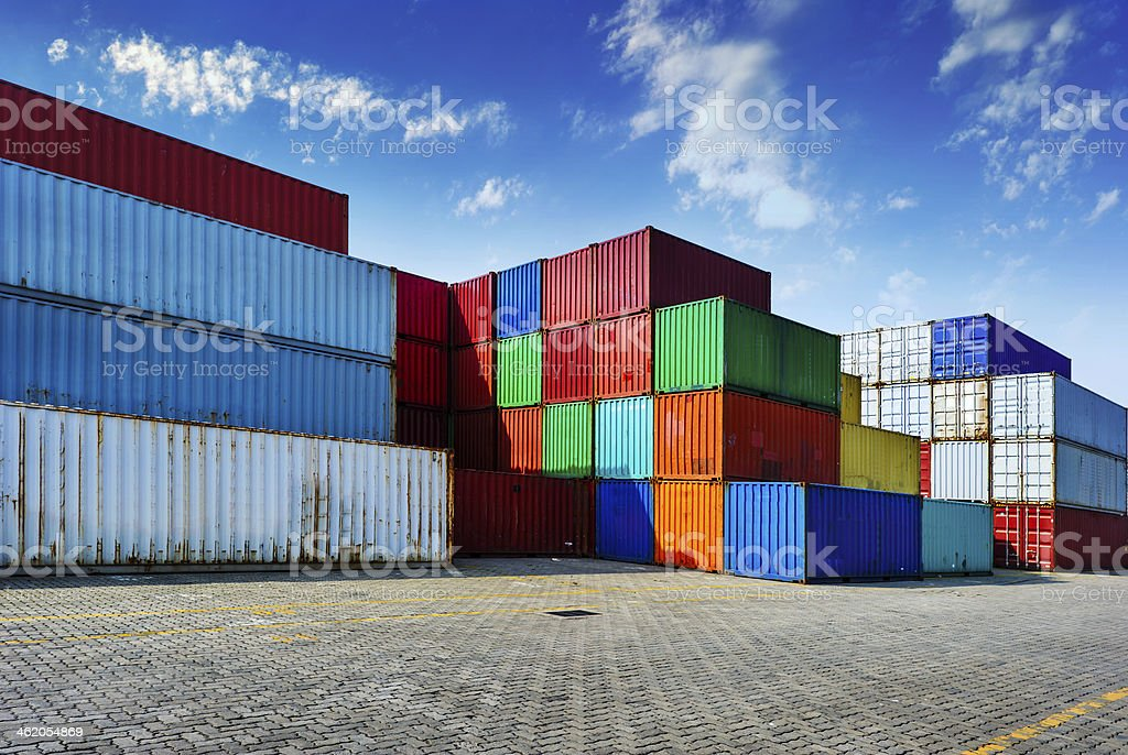 Industrial port with colorful containers royalty-free stock photo