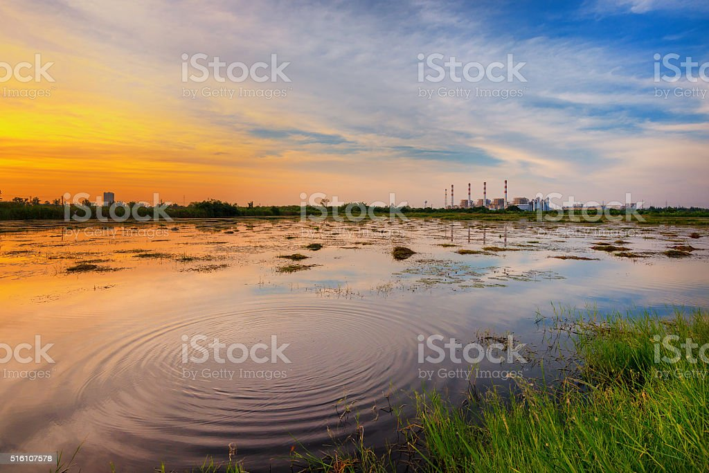 Industrial power plant with landscape view stock photo