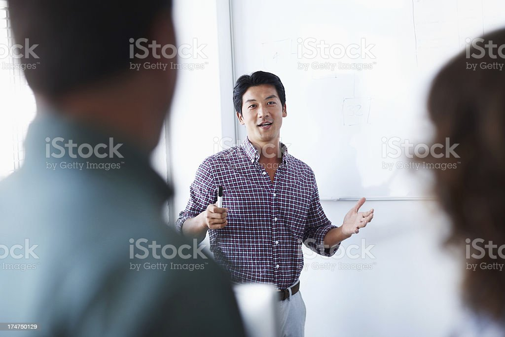 Industrial presentation on whiteboard stock photo