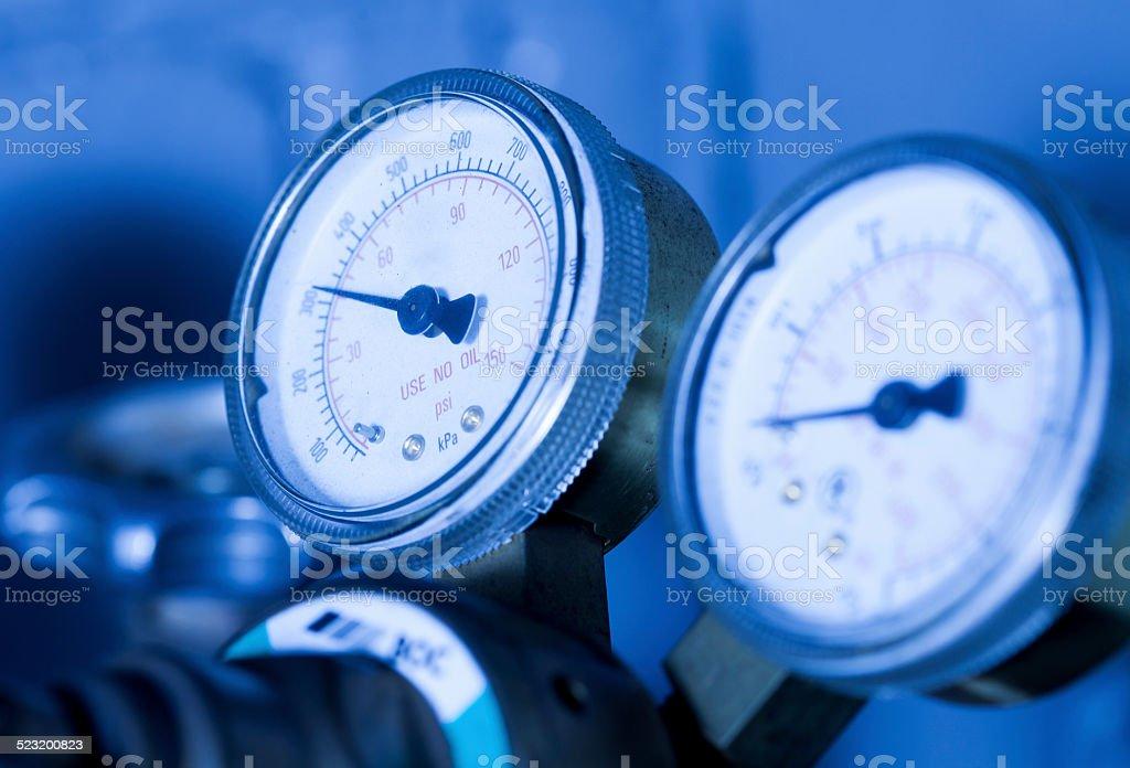 Industrial pressure guage stock photo
