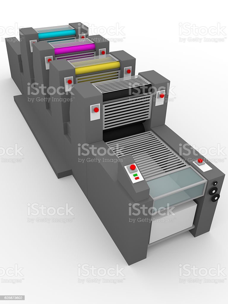 industrial printing press stock photo