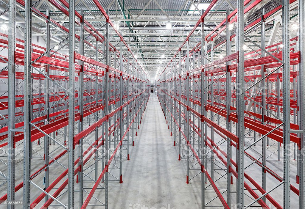 Industrial racks pallets shelves stock photo